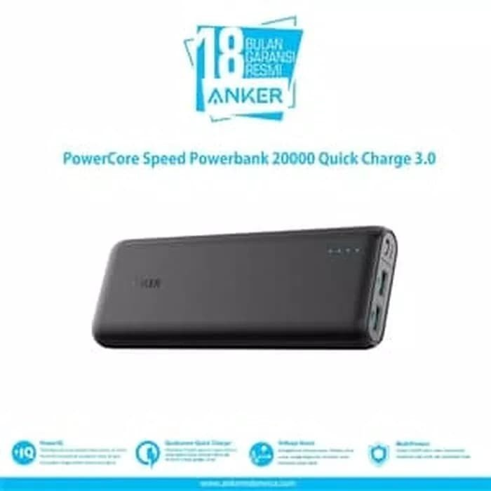 Powerbank anker powercore 20000 dual port quick charger 3.0 qualcomm