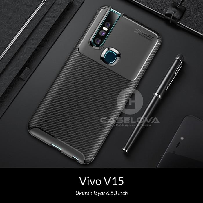 Foto Produk Case Vivo V15 ( Finger ) Synthetic Fiber Silicone Protective Carbon - Hitam dari Caselova Store