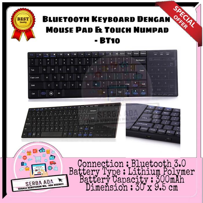 Jual Keyboard Bluetooth Dengan Mouse Pad Touch Numpad Bt10 Kota Tangerang Selatan 23 Serba Ada Tokopedia