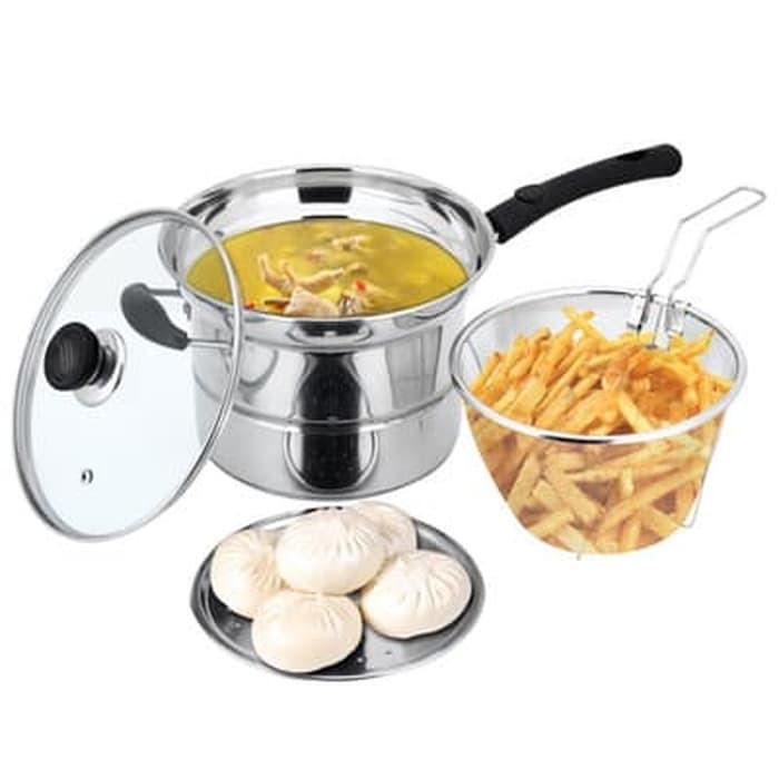 Deep fryer pan 22cm - stainless pot 3in1 - panci goreng - wajan kukus