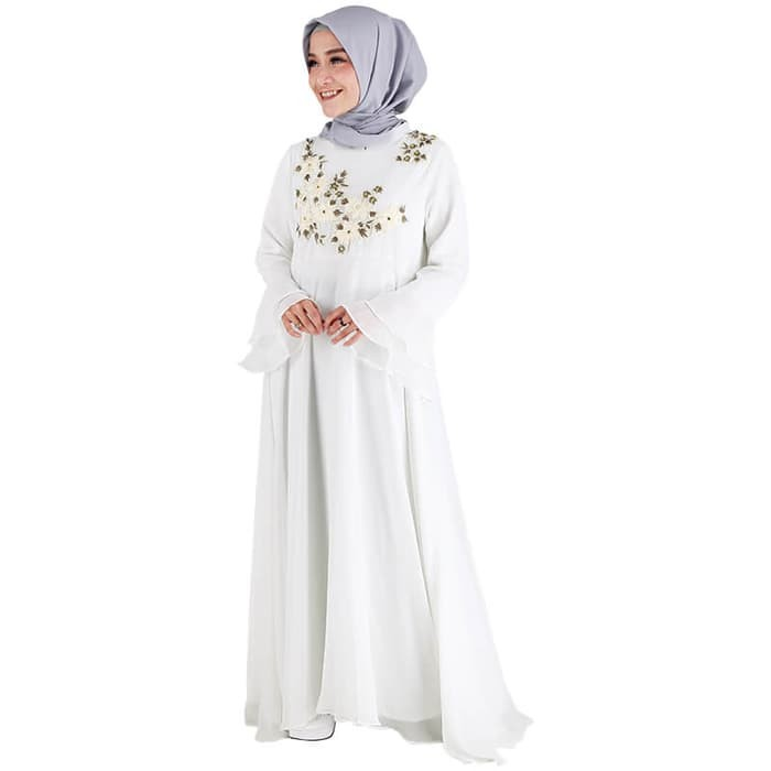 Jual Baju Gamis Busana Muslim Dress Muslimah Wanita Warna Putih Rln 089 Kota Bandung Dblanja Id Tokopedia