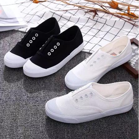 Jual Sepatu Kets Wanita Slip On Rubber Tanpa Tali Design Kekinian