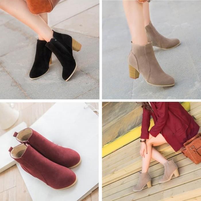 Import bayar di tempat sepatu boots ankle low block heels resleting s