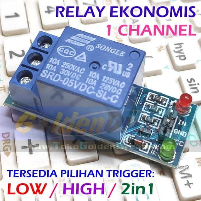 Foto Produk ECO Relay 5v 1 Channel 250VAC 30VDC 10A Arduino Low High Level Trigger - LOW LEVEL dari VISITEK