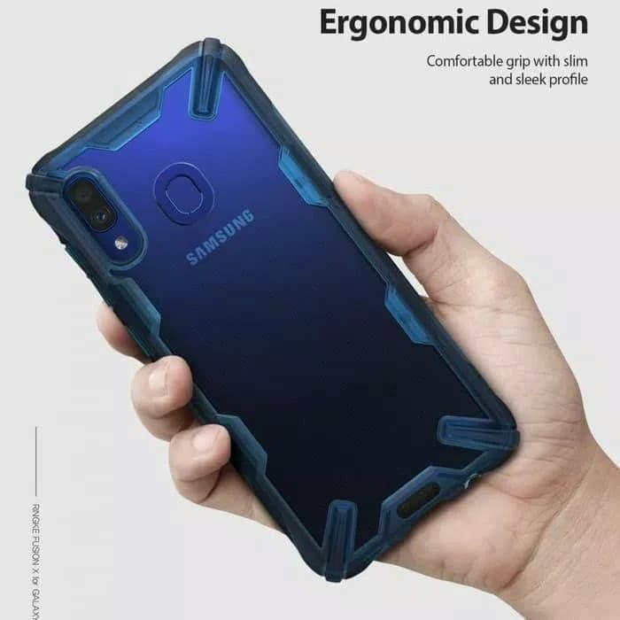 harga Samsung galaxy a20 original ringke fusion x anti crack case black/blue Tokopedia.com