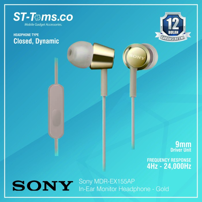 harga Sony in-ear monitor headphone mdr-ex155ap / ex 155ap - green - emas Tokopedia.com