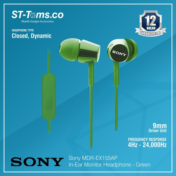harga Sony in-ear monitor headphone mdr-ex155ap / ex 155ap - green - hijau tua Tokopedia.com