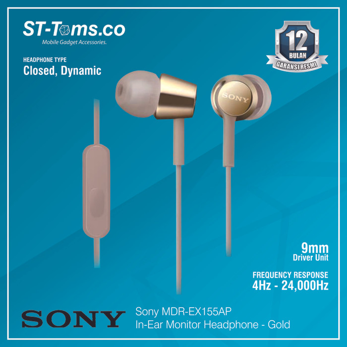 harga Sony in-ear monitor headphone mdr-ex155ap / ex 155ap - white - emas Tokopedia.com