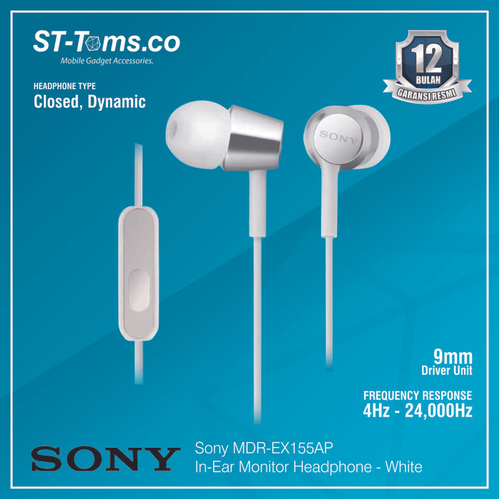 harga Sony in-ear monitor headphone mdr-ex155ap / ex 155ap - green - putih Tokopedia.com