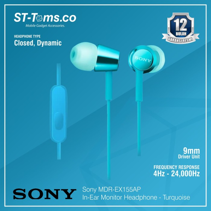 harga Sony in-ear monitor headphone mdr-ex155ap / ex 155ap - green - turquoise Tokopedia.com
