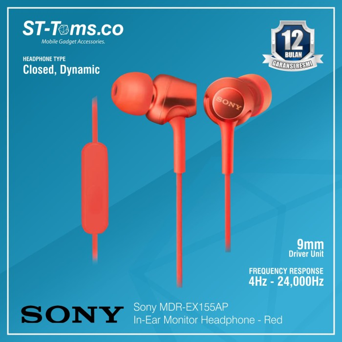 harga Sony in-ear monitor headphone mdr-ex155ap / ex 155ap - white - merah Tokopedia.com