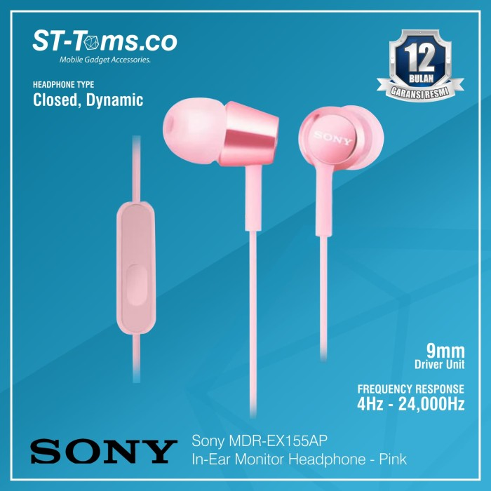 harga Sony in-ear monitor headphone mdr-ex155ap / ex 155ap - green - merah muda Tokopedia.com