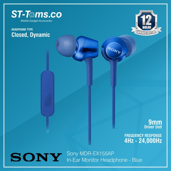 harga Sony in-ear monitor headphone mdr-ex155ap / ex 155ap - white - biru Tokopedia.com