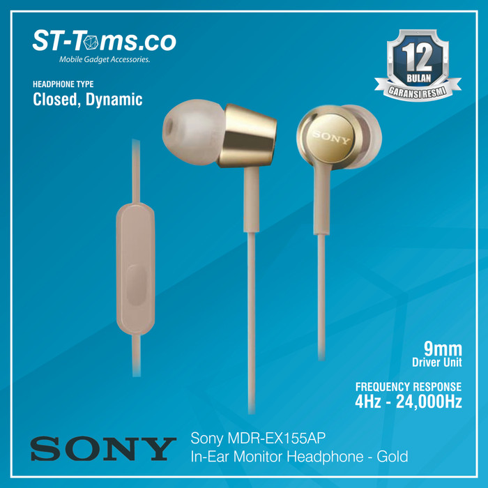 harga Sony in-ear monitor headphone mdr-ex155ap / ex 155ap (n) - gold - emas Tokopedia.com