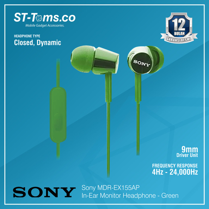 harga Sony in-ear monitor headphone mdr-ex155ap / ex 155ap (n) - gold - hijau tua Tokopedia.com