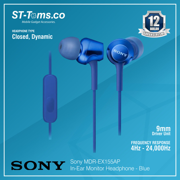 harga Sony in-ear monitor headphone mdr-ex155ap / ex 155ap (n) - gold - biru Tokopedia.com