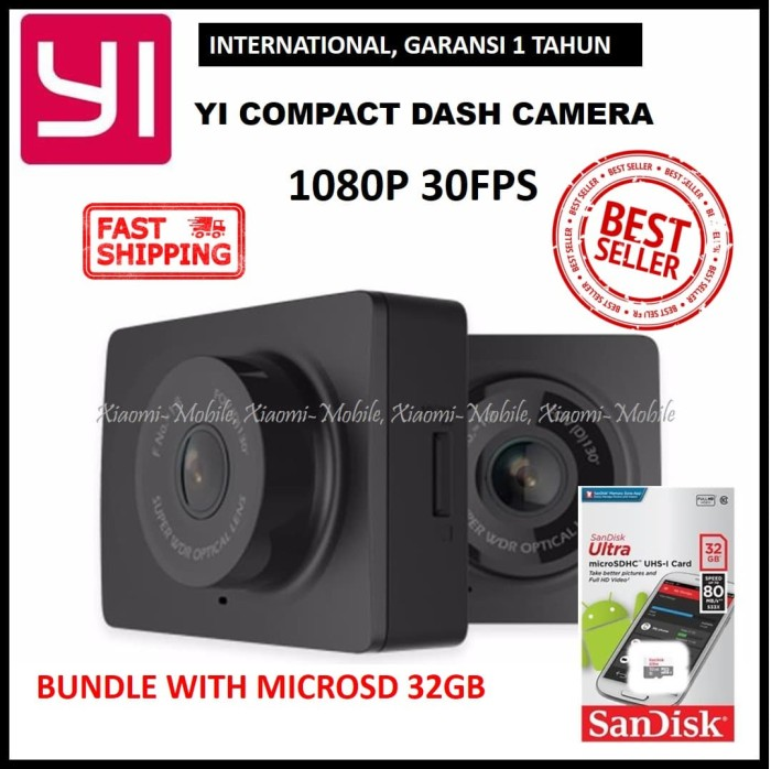 harga Xiaomi yi car dash camera dashcam 1080p black international + 32gb Tokopedia.com