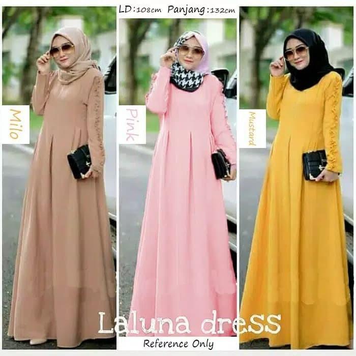 Jual Baju Wanita Muslim Laluna Dress Kota Bandung Wafastore Tokopedia