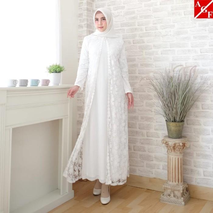 Jual Sale Baju Gamis Putih Brokat Syari Lebaran Haji Umroh Muslim 80820
