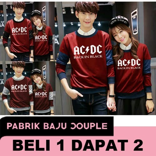 Sweater Couple Maroon ACDC - HITAM