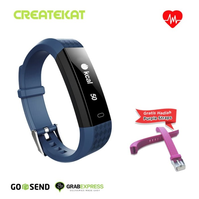 harga Createkat smart band heart rate monitor smartwatch gelang pintar - biru Tokopedia.com