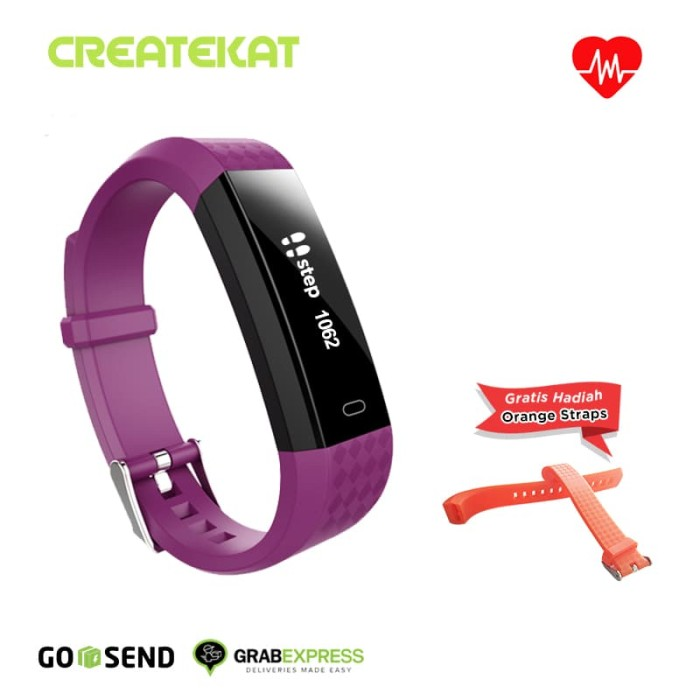 harga Createkat smart band heart rate monitor smartwatch gelang pintar - ungu Tokopedia.com