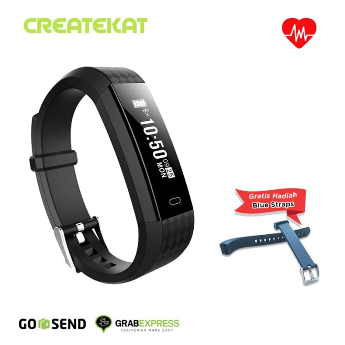 harga Createkat smart band heart rate monitor smartwatch gelang pintar - hitam Tokopedia.com