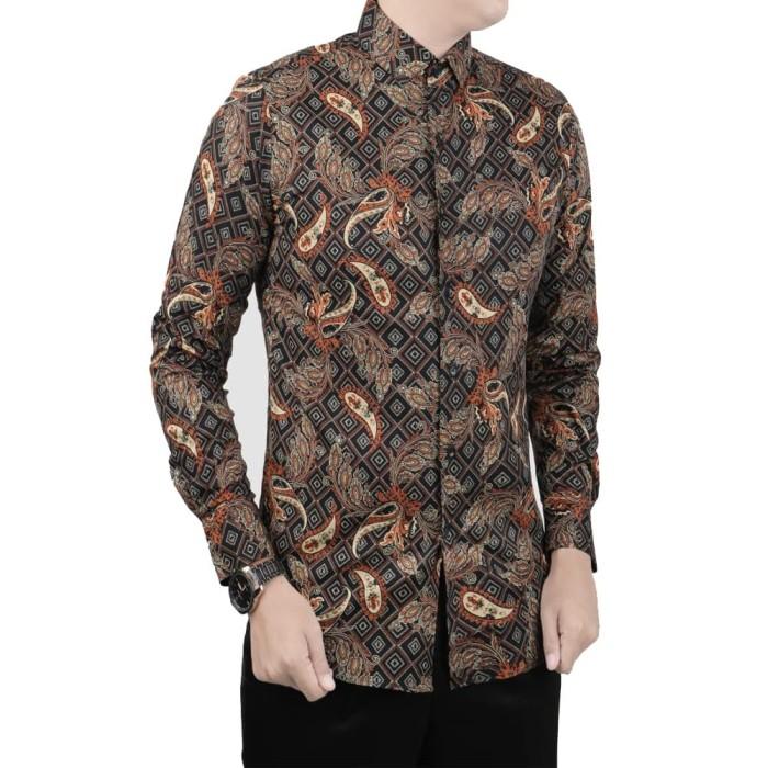 harga Vm kemeja batik kemeja casual pria lengan panjang slimfit coklat - cokelat muda xl Tokopedia.com