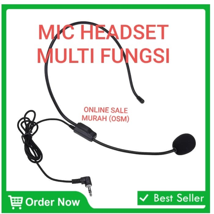 Foto Produk Microphone Mic headset bando PC Komputer laptop clip on mik cable kabe dari hasanjaya