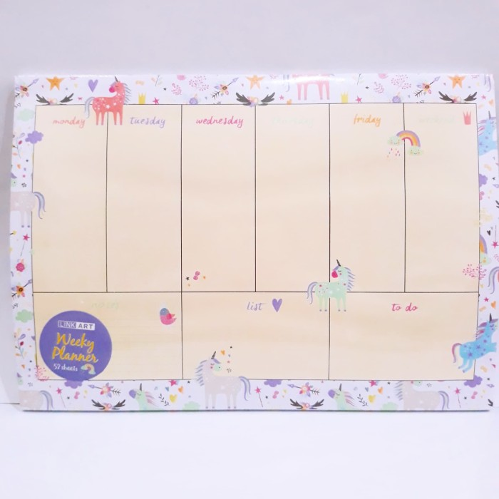 photograph regarding Cute Weekly Planners titled Jual Unicorn Weekly Planner Guide / Buku Plan Pastel Unicorn / Lovely Memo - DKI Jakarta - Total Shoppu Tokopedia