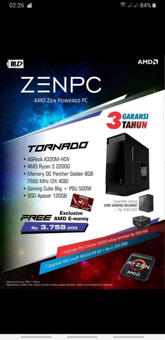 Jual PC Rakitan RYZEN 2200G ASROCK A320M HDV SSD 120GB GAMING CUBE BLIG -  Kab  Sleman - StarComp   Tokopedia