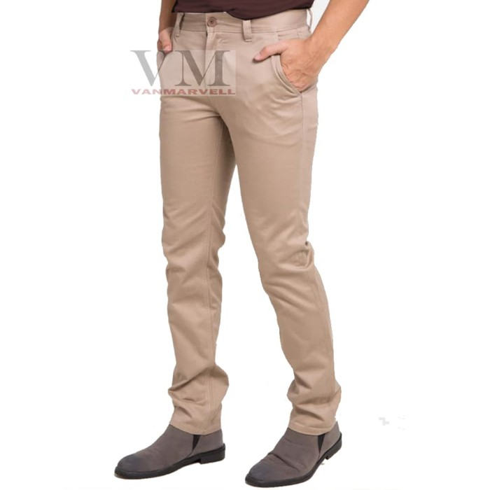 Foto Produk VM Celana Chino Panjang Slimfit Stretch Coklat Muda Mocca - Cokelat Muda dari VM VanMarvell