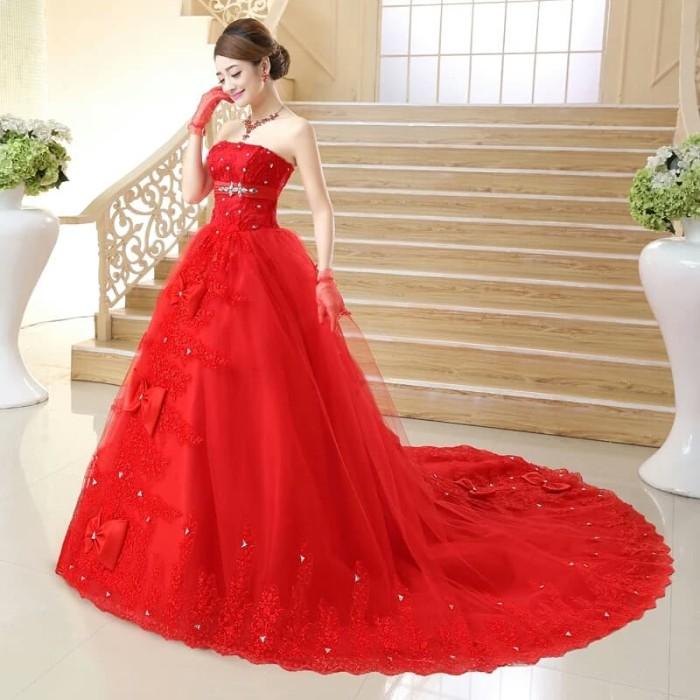 Jual Ball Gown Red Pakaian Pesta Panjang Merah Pita Gloves Jewelry Kota Bekasi S E V E N Shop Tokopedia