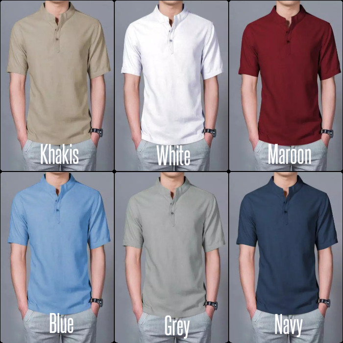 Foto Produk kemeja pria   baju koko lengan pendek   koko polos pria motif Hamsy dari Rifa t-shirt