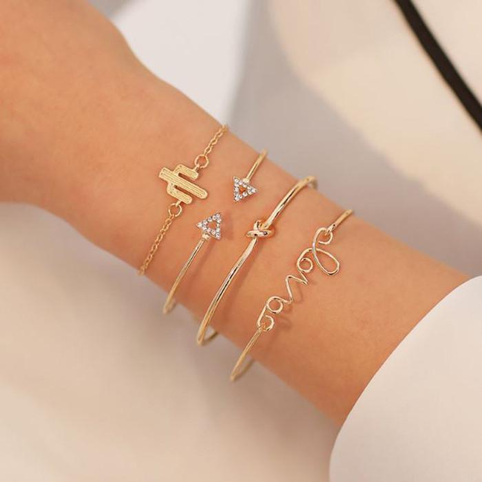 Foto Produk gelang fashion set 4 pcs love geometry combination bracelet jge078 dari Oila