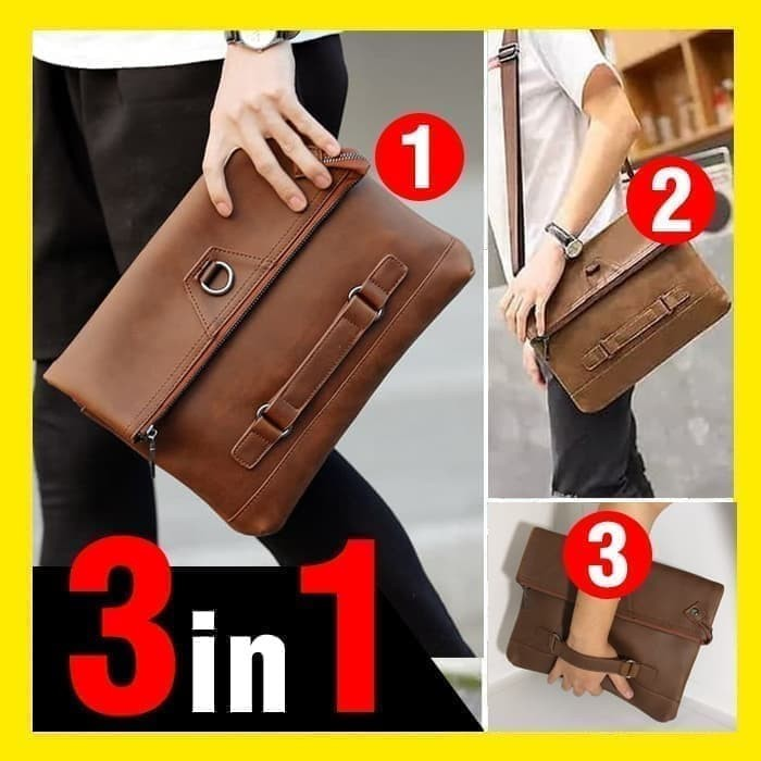 4e62abd0411 Review Clutch Handbag Hand Bag Tas Pria Kulit - Black Double Flap Di ...