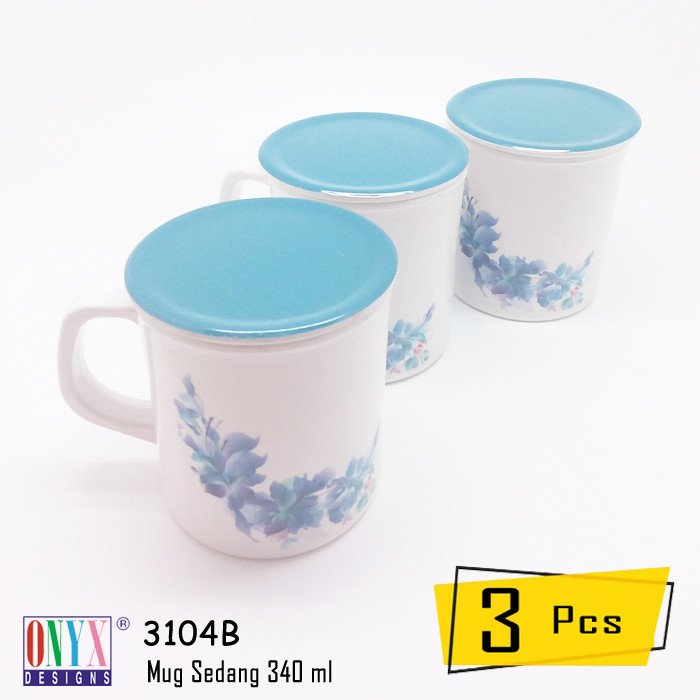 harga 3 pcs gelas sedang + tutup 340 ml onyx melamin azura - 3104b azu01 Tokopedia.com