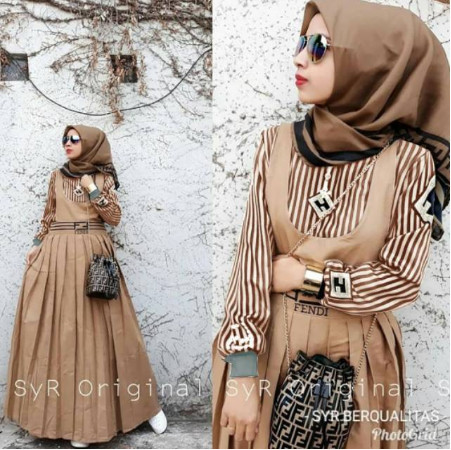 Jual Jumpsuit Muslim Fashion Wanita Fendi Set Overall Pakaian Muslim Wanita Jakarta Pusat Cintamuu Tokopedia