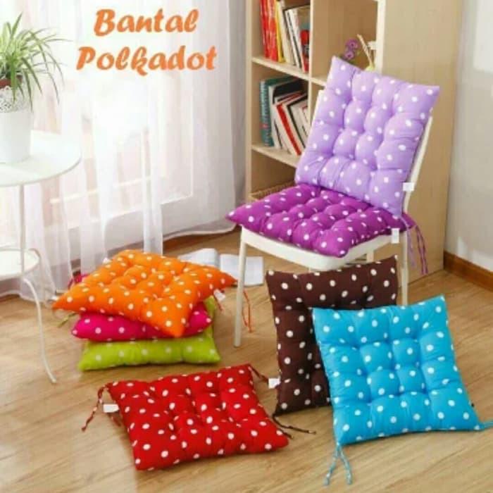 Bantal Empuk Alas Kursi / Sofa Polkadot Multi Fungsi - Biru Muda