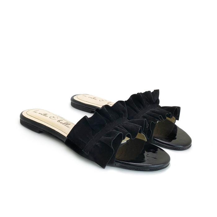 harga Sandal flat/teplek/sendal wanita la vita e bella [poppy] - hitam - hitam 42 Tokopedia.com