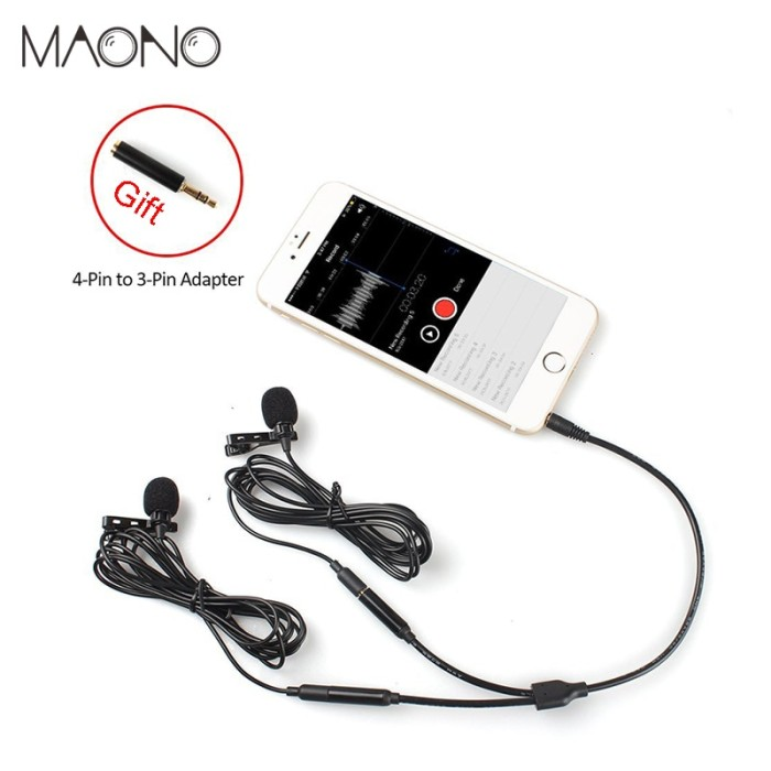 Tonor 55 Inch Lavalier Mic Lapel Microphone Double Headed Recording Clip On Mic