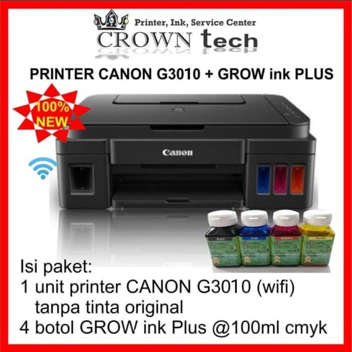 Jual Canon G3010 tinta GROW ink PLUS  print scan copy wifi  all in one -  Kota Surabaya - CROWN TECH   Tokopedia