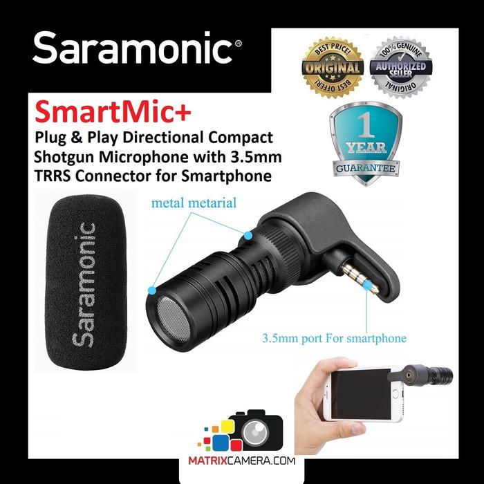 Foto Produk Saramonic SmartMic+ 3.5mm TRRS Plug and Play Shotgun Mic Microphone dari MatrixCamera