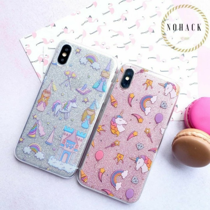 Foto Produk glitter case ip iphone 6 case 6S 6+ plus 7 7+ 8 8+ X XS XR MAX casing - UNICORN PINK dari Caseayangan ID