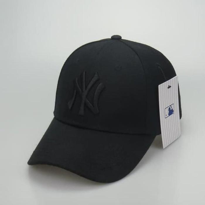 cfac4d4dd Jual Topi caps NY New york yankees full black import - Biru Navy ...
