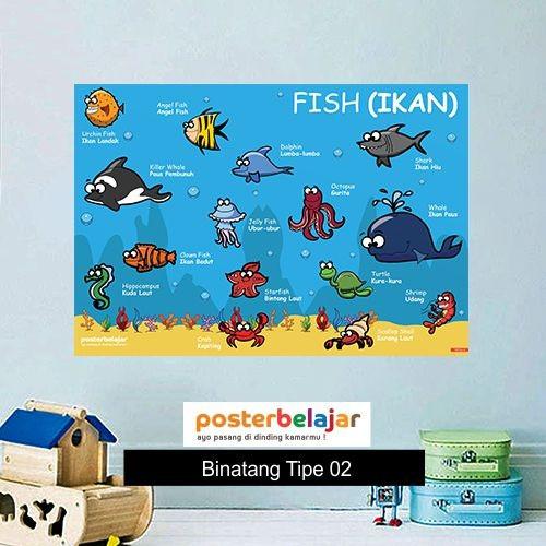 Jual Tipe 02 Poster Belajar Binatang Tema Ikan Untuk Edukasi Anak Paud Tk Kota Cimahi Grosir Poster Belajar Tokopedia