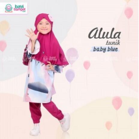 Foto Produk TUNIK ANAK SET CELANA JOGER ALULA BABY BLUE SIZE L Pakaian Muslim Anak dari Severins