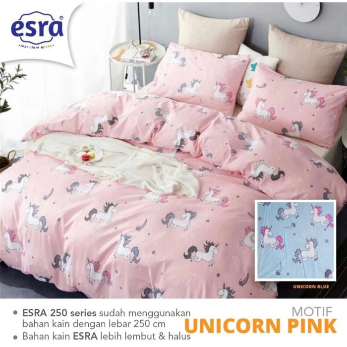 Jual Bedcover Set Sprei Katun Esra Motif Unicorn Uk Double