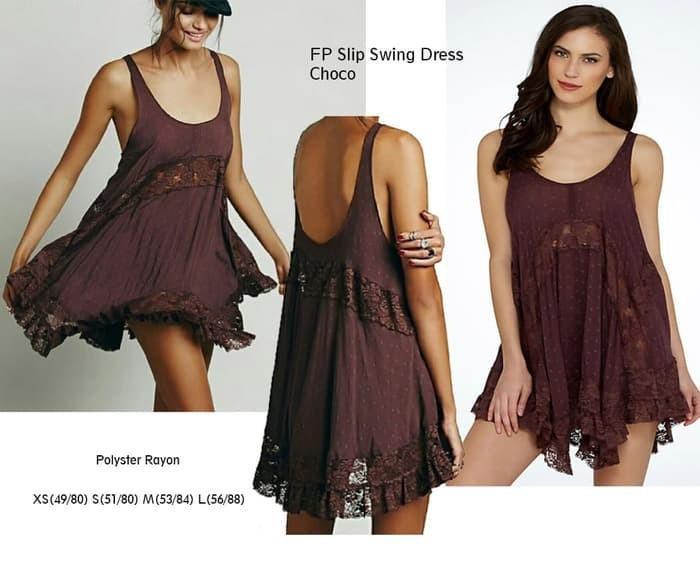 229a74a54 Jual Mini Dress FREE PEOPLE Slip Swing Dress Branded Murah - 5 Warna ...