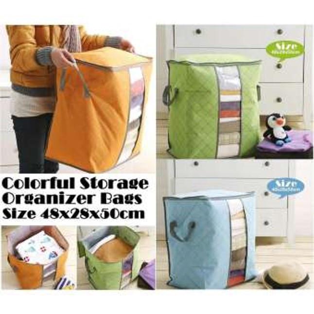 Foto Produk Storage Bag Storage Box Tempat Penyimpanan Pakaian selimut bed cover - ORANGE-STOP dari I-Tech Accessories HP